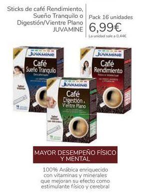 Oferta de Sticks de café Rendimiento, Sueño Tranquilo o Digestión/Vientre Plano JUVAMINE por 6,99€