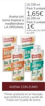 Oferta de Avena con zumo tropical o mediterráneo LA ORIGINAL  por 1,65€