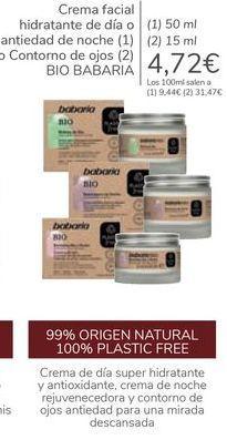 Oferta de Crema facial hidratante de día o antiedad de noche o contorno de ojos BIO BABARIA  por 4,72€