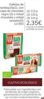 Oferta de Galletas de mantequilla, con capa de chocolate negro o mitad chocolate y mitad cereales LU BIO  por 2,35€