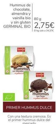 Oferta de Hummus de chocolate, almendra y vainilla Bio y sin gluten GERMINAL BIO  por 2,75€