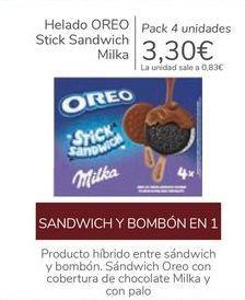 Oferta de Helado OREO Stick Sandwich Milka por 3,3€