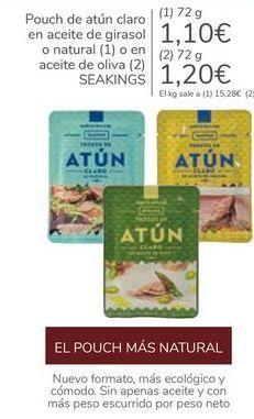 Oferta de Pouch de atún claro en aceite de girasol o natural o en aceite de oliva SEAKINGS por 1,1€