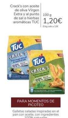 Oferta de Crack's con aceite de oliva Virgen Extra y al punto de sal o hierbas aromáticas TUC por 1,2€