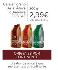 Oferta de Café en grano Asia, África o América TOSCAF por 2,99€