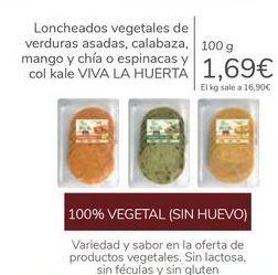 Oferta de Loncheados vegetales de verduras asadas, calabaza, mango y chía o espinacas y col kale VIVA LA HUERTA por 1,69€