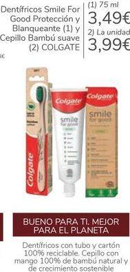 Oferta de Dentífrico Smile For Good Protección y Blanqueante y Cepilo Bambú suave COLGATE por 3,49€