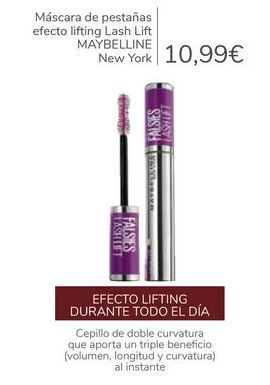 Oferta de Máscara de pestañas efecto Lifting Lash Lift MAYBELLINE New York  por 10,99€
