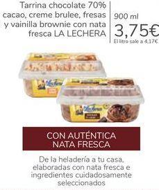Oferta de Tarrina chocolate 70% cacao, creme brulee, fresas y vainilla brownie con nata fresca LA LECHERA por 3,75€
