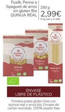 Oferta de Fusilli, Penne o Spaguetu de arroz sin gluten BIO QUINUA REAL por 2,99€