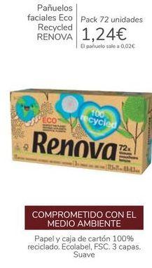 Oferta de Pañuelos faciales Eco Recycled RENOVA  por 1,24€
