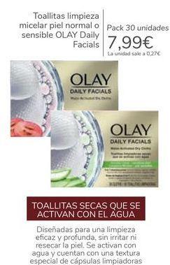Oferta de Toallitas limpieza micelar piel normal o sensible OLAY Daily Facials por 7,99€