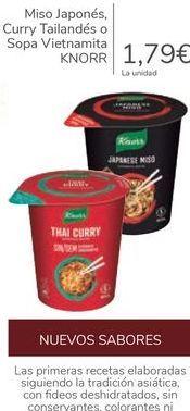 Oferta de Miso Japonés, Curry Tailandés o Sopa Vitnamita KNORR por 1,79€