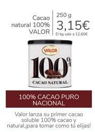 Oferta de Cacao natural 100% VALOR por 3,15€