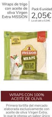 Oferta de Wraps de trigo con aceite de oliva Virgen Extra MISSION por 2,05€