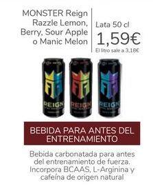 Oferta de MONSTER Reign Razzle Lemon, Berry, Sour Apple o Manic Melon  por 1,59€