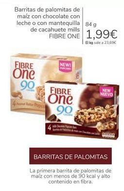 Oferta de Barritas de palomitas de maíz con chocolate con leche o con mantequilla de cacahuete mills FIBRE ONE por 1,99€