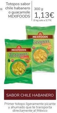 Oferta de Totopos sabor chile habanero o guacamole MEXIFOODS por 1,13€