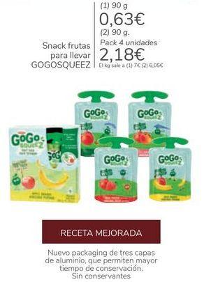 Oferta de Snack frutas para llevas GOGOSQUEEZ por 2,18€