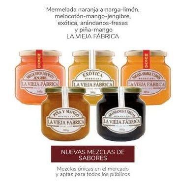 Oferta de Mermelada naranja amarga-limón, melocotón-mango-jengibre, exótica, arándanos-fresas y piña-mango LA VIEJA FÁBRICA por