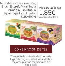 Oferta de Té Sudáfrica Desconexión, Brasil Energía Vital, India Armonía Espiritual o Japón Equilibrio Interior SUSARON por 1,85€