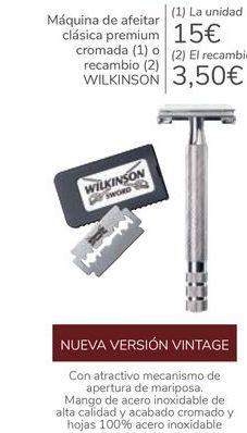 Oferta de Máquina de afeitar clásica premium cromada o racambio WILKINSON  por 15€
