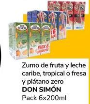 Oferta de Zumo  de fruta y leche caribe,tropical o fresa y plátano zero Don Simón por 0,9€