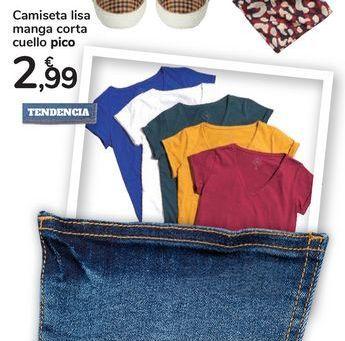Oferta de Camiseta lisa manga corta cuello pico por 2,99€