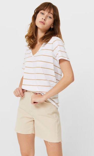 Oferta de Camiseta básica cuello pico rayas por 5,99€
