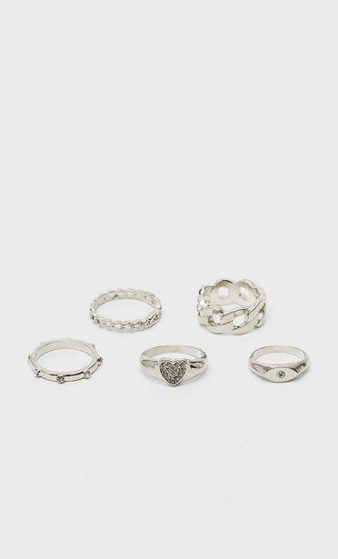 Oferta de Set 5 anillos corazón por 5,99€