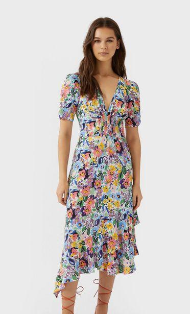Oferta de Vestido midi volante flores por 9,99€