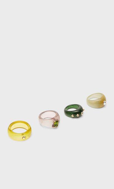 Oferta de Set 5 anillos acrílico por 5,99€