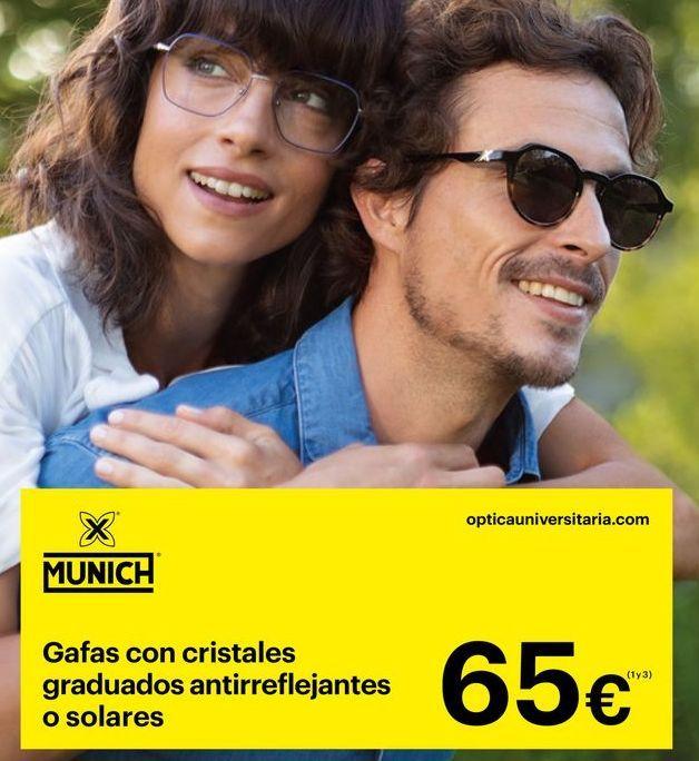 Oferta de Gafas con cristal graduados antirreflejantes o solares Munich por 65€