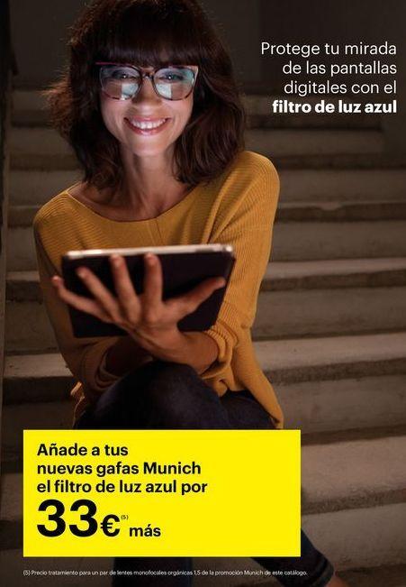 Oferta de Añade tus nuevas gafas Munich el filtro de luz azul por 33€