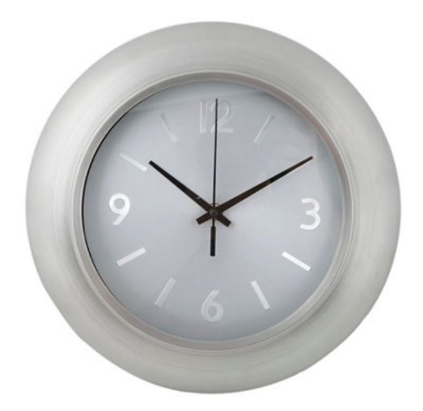Oferta de Reloj de cocina a pared redondo gris  de 29 cm por 9,69€
