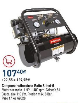 Oferta de Compresor de aire Ratio por 107,4€