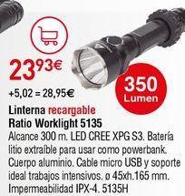 Oferta de Linterna recargable Ratio por 23,93€