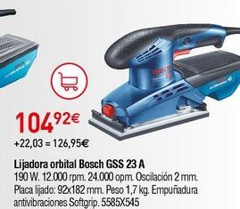 Oferta de Lijadora orbital Bosch por 104,92€