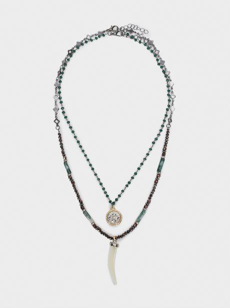 Oferta de Collar Corto Cuerno Y Piedras Multicolor por 5,99€