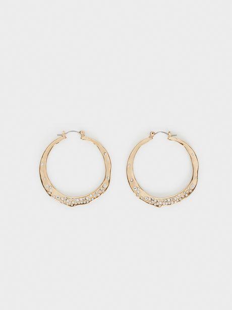 Oferta de Aros Medianos Cristales Dorados por 5,99€