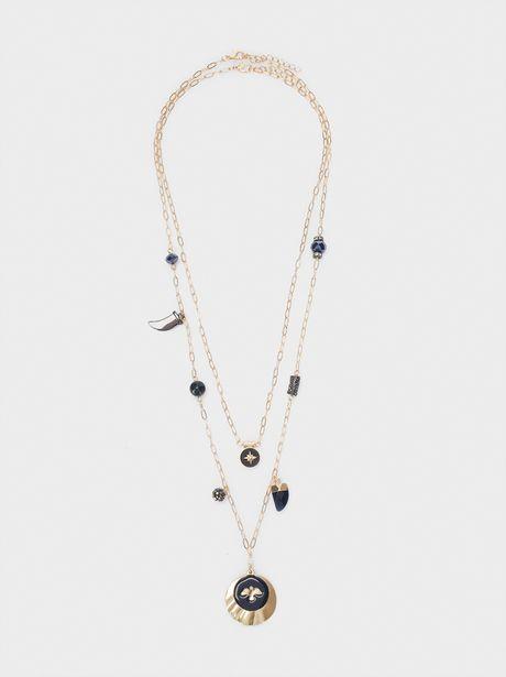 Oferta de Collar Largo Doble Cuernos Y Charms por 5,99€