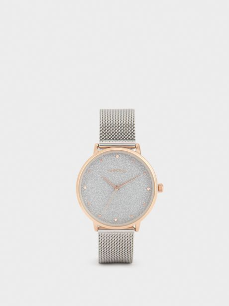 Oferta de Reloj Correa De Malla Metálica Esfera Brillante por 29,99€