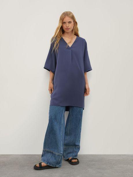 Oferta de Vestido Liso Con Cuello De Pico por 25,99€