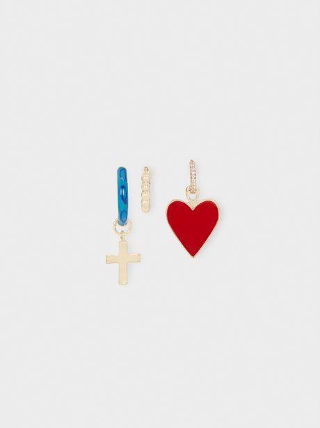 Oferta de Conjunto De Aros Cortos Cruz Y Corazón por 4,99€