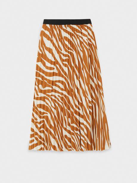 Oferta de Falda Plisada Estampada Con Cintura Elástica por 12,99€