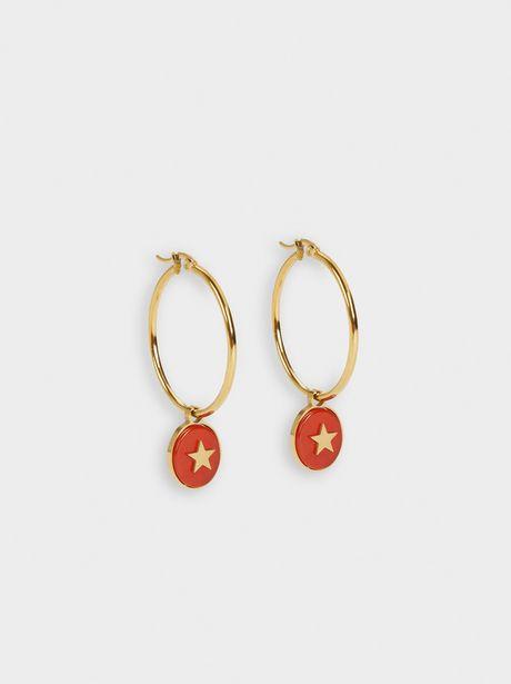 Oferta de Pendientes De Aro De Acero Con Piedra Y Estrella por 25,99€