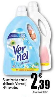 Oferta de Suavizante  azul o delicado Vernel 44 lavados por 2,39€