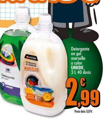 Oferta de Detergente en  gel marsella o color Unide por 2,99€