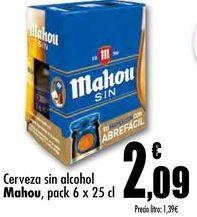 Oferta de Cerveza sin alcohol Mahou pack 6 x 25 cl por 2,09€