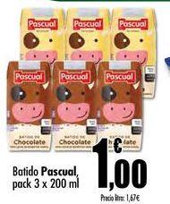 Oferta de Batido Pascual pack 3 x 200 ml por 1€